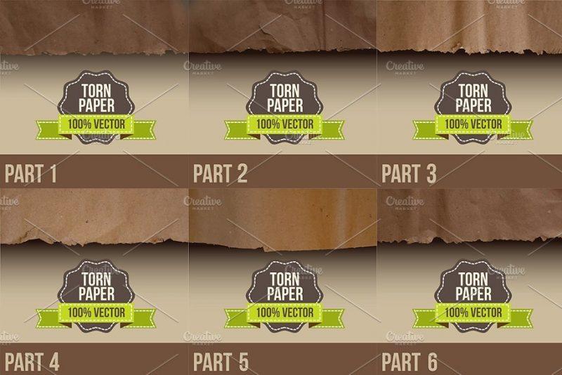 100% Vector Torn Paper Textures