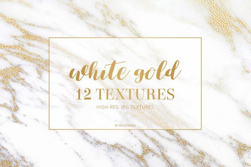 12 White Gold Marble Textures