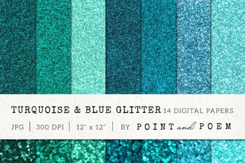 14 Turquise Glitter Digital Papers