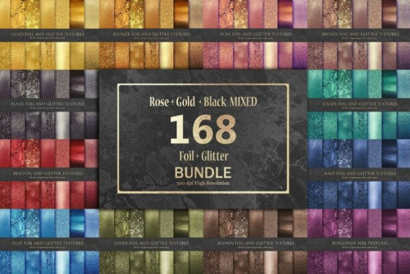 168 Foil and Glitter Texture Bundle