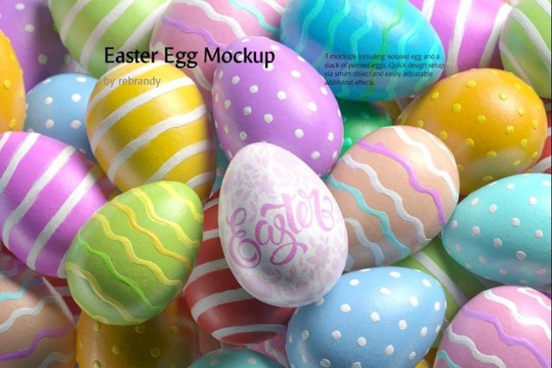 3 Easter Egg Mockups PSD