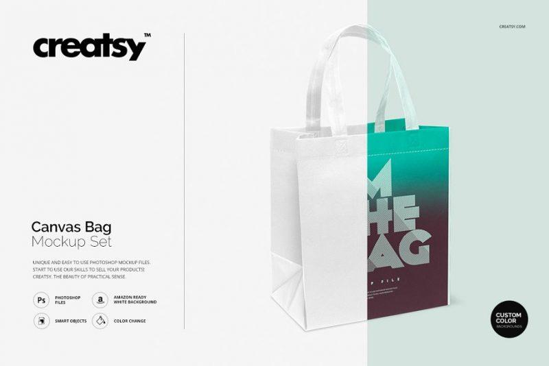 3D Canvas Bag Mockup PSD