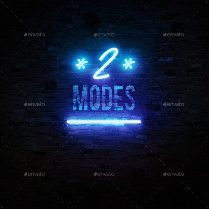3D Neon Font Mockup