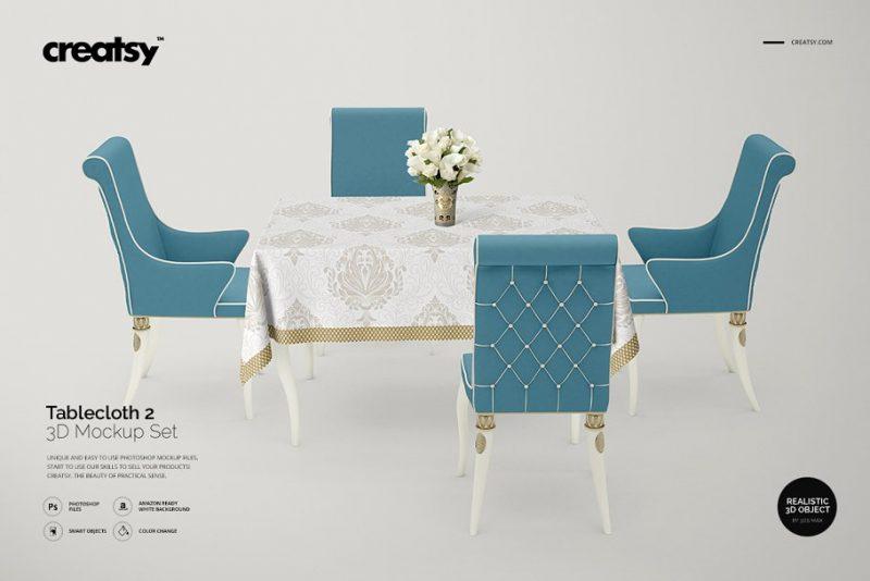 3D Table Cloth Mockup
