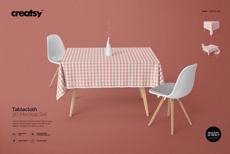 3D Tablecloth Mockup Design