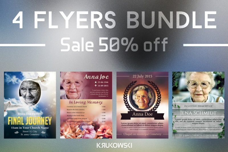 4 Funeral Flyers Bundle