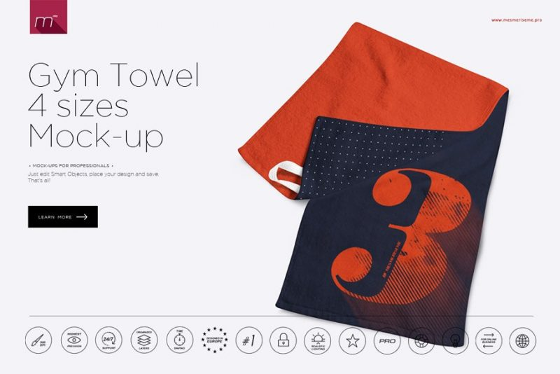 4 Sizes Towel Mockups