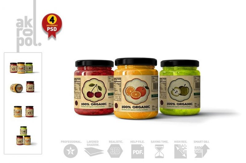 4 Unique Jar Mockups