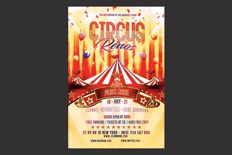 4 x 6 Circus Flyers PSD