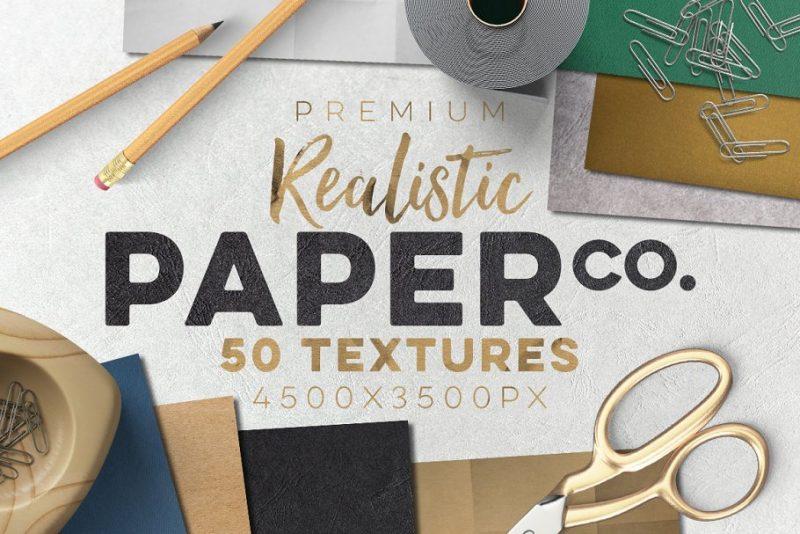 50 Paper Paper Textures Set