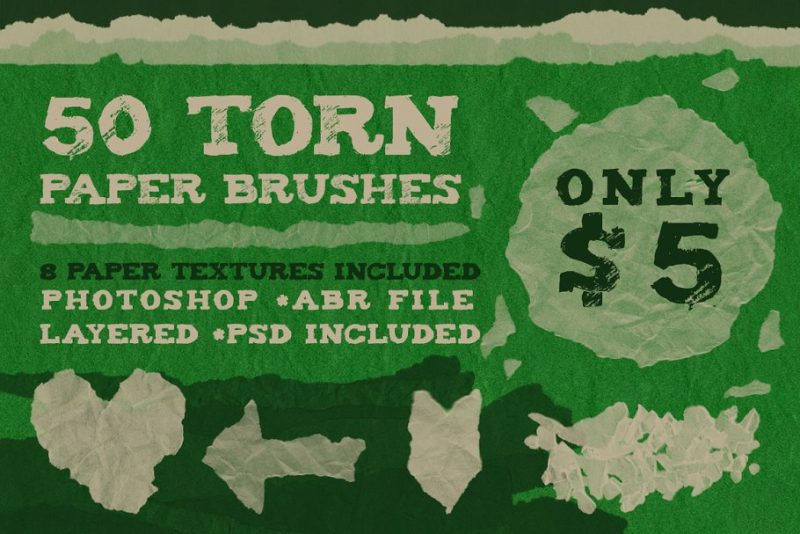50 Torn Paper Brushes and Textures