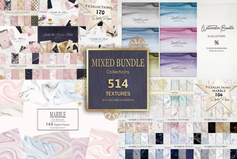 514 Marble paper Background Bundle