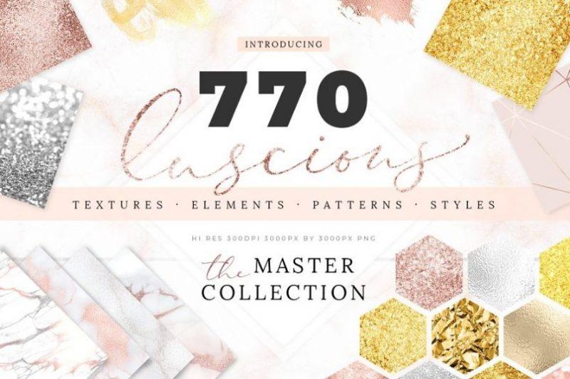 770 Glitter Textures Elements Bundle