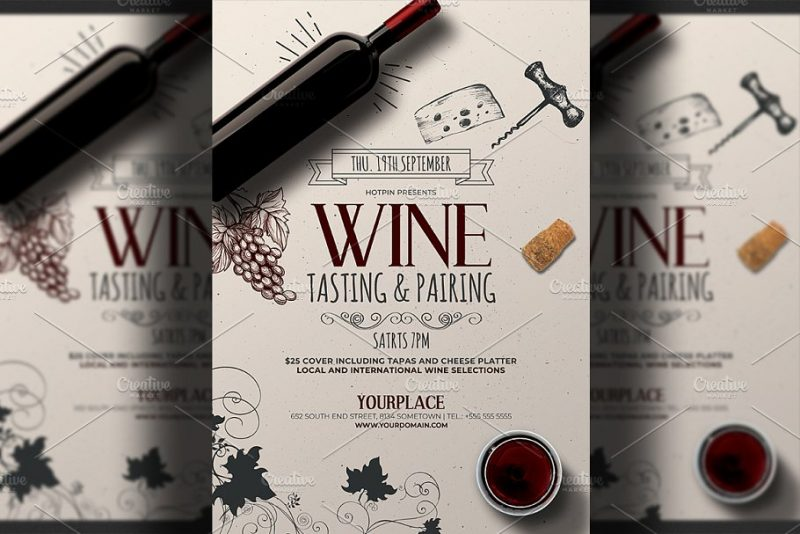 A4 Editable Wine Tasting Flyers