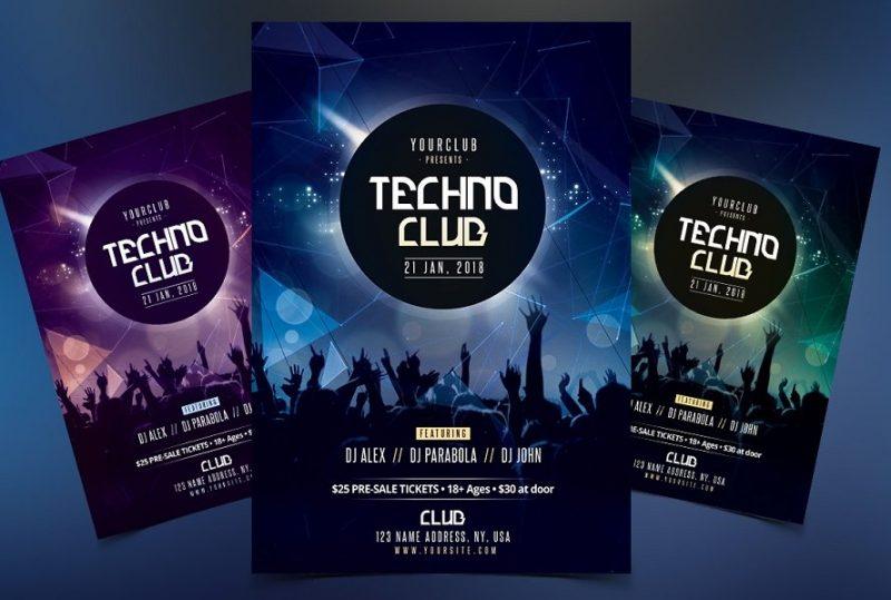 A4 Techno Club Flyer Template
