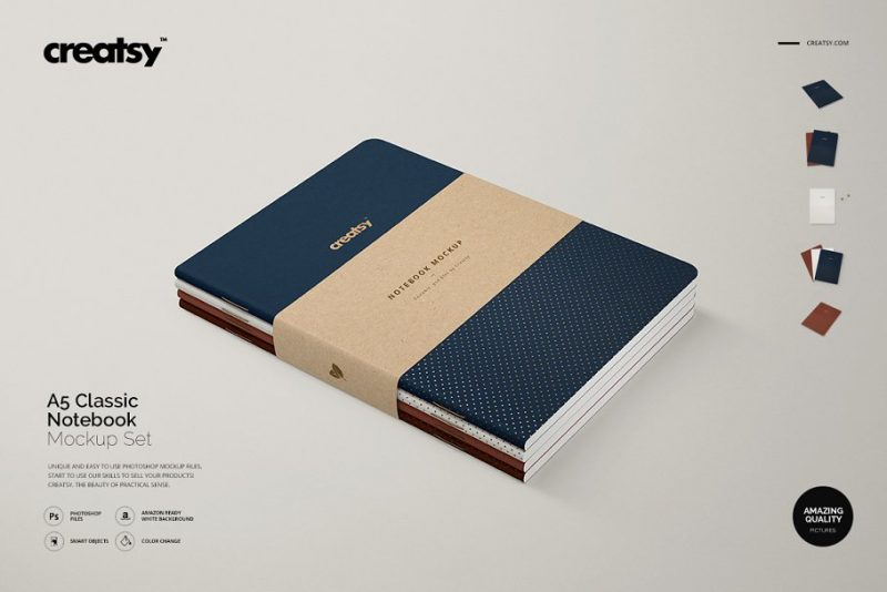 A5 Leather Notebook Mockups