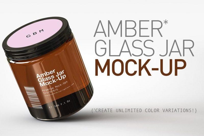 Amber Glass Jar Mockup PSD