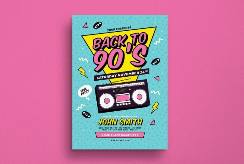 Back To 90's Event Flyer