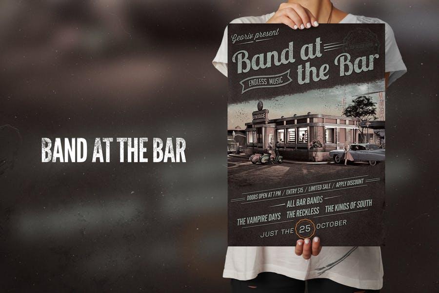 Band At Bar Flyer Poster
