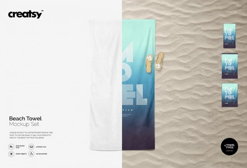 Beach Towel Mockup PSD