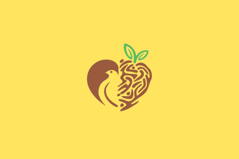 Bird and Heart Logo Design