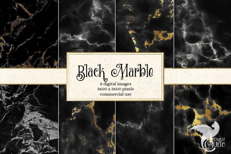 Black Marble Digital Papers