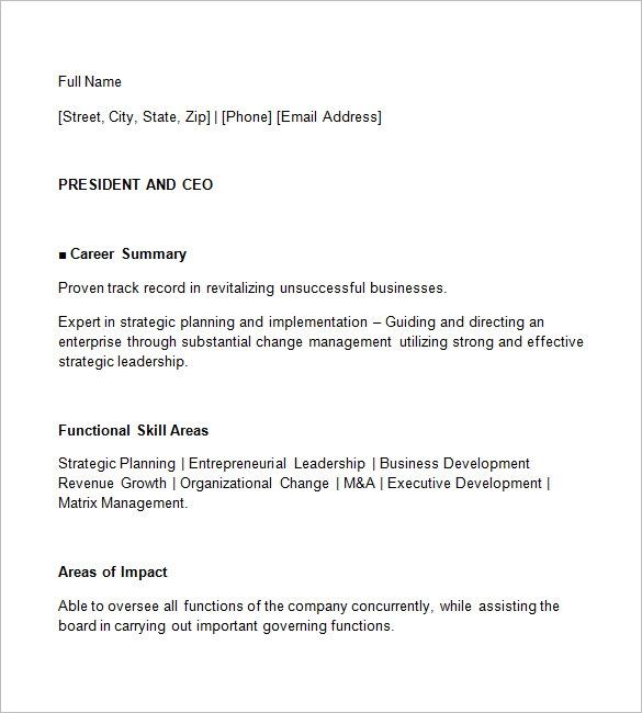 CEO Resume Idea Download