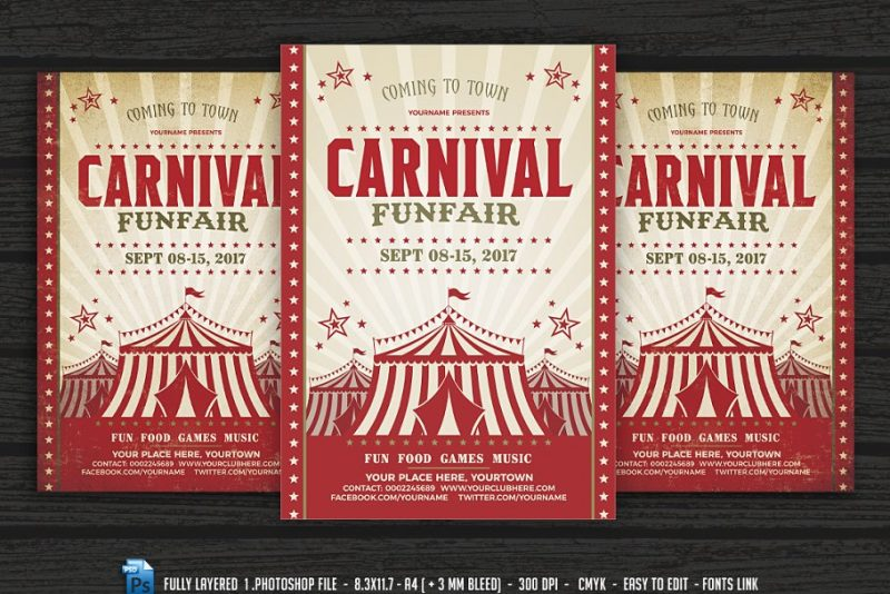 Carnival Flyer Posters PSD