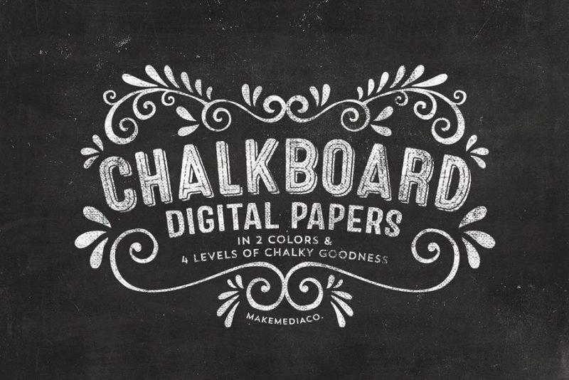 Chalkboard Digital Paper Textures