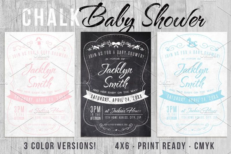 Chalkboard Style Baby Shower Template