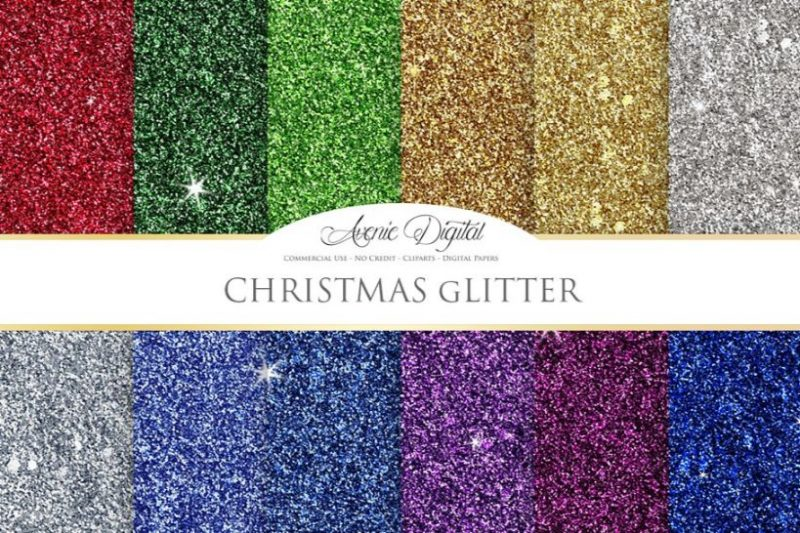 Christmas Glitter Textures PNG