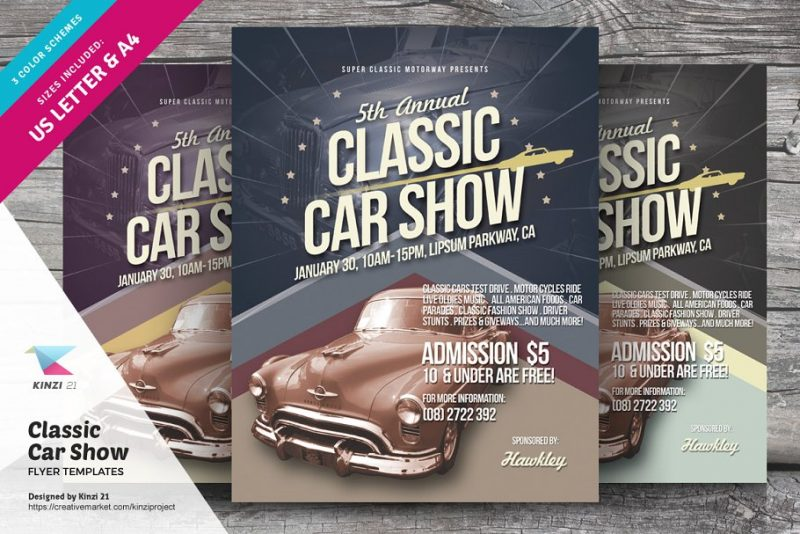 Classic Car Show Flyer PSD