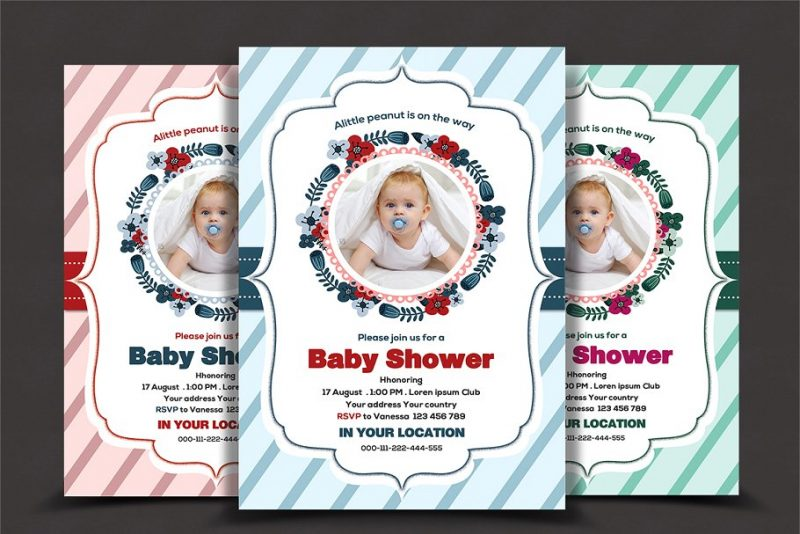 Clean Baby Shower Flyers Template