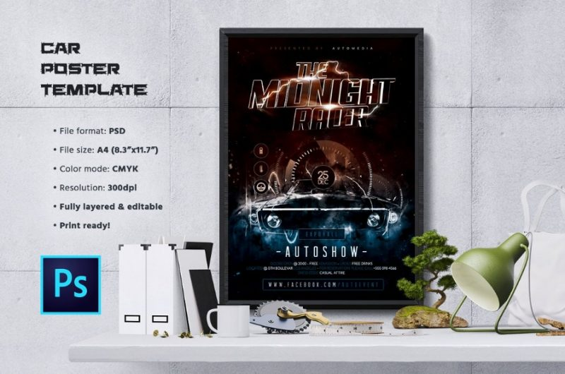 Clean Car Poster Template