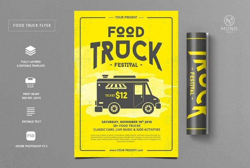 Clean Food Truck Flyer Template