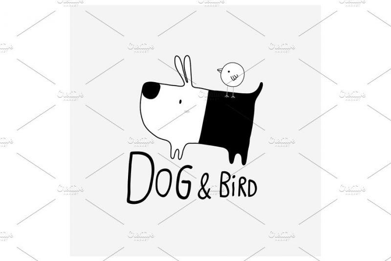 Dog and Bird Logo Design