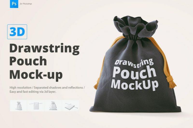 Drawstring Pouch Mockup Design
