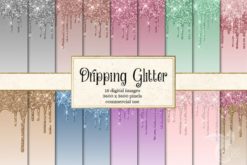 Dripping Glitter Digital Papers