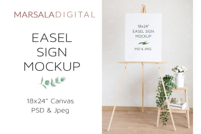 Easel Sign Stand Mockup