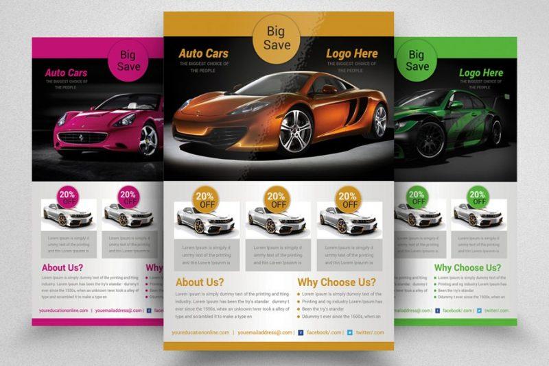 Easy Editabke auto Cars Flyers