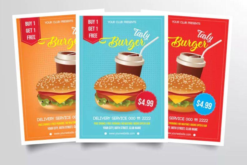 Easy Editable Burger Flyers Templates