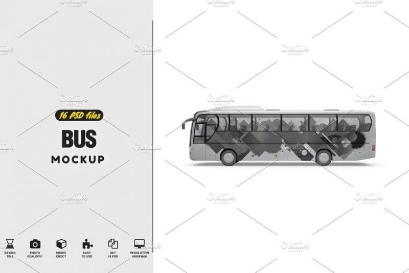 Editable Bus Mockup PSD