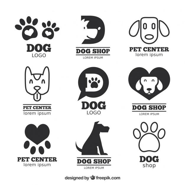 Flat Dog Logos Set