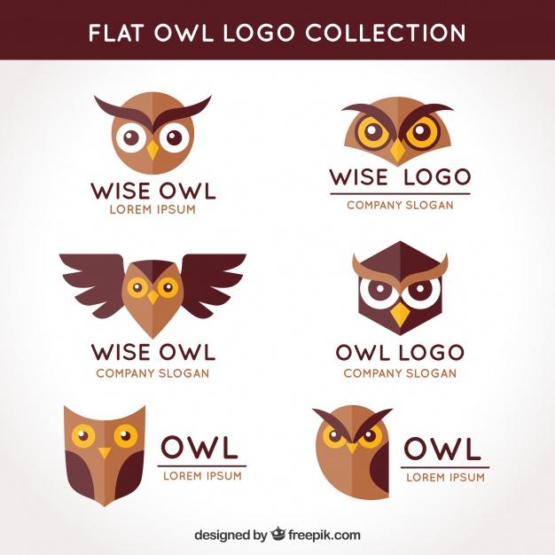 Flat Owl Logo Design Free