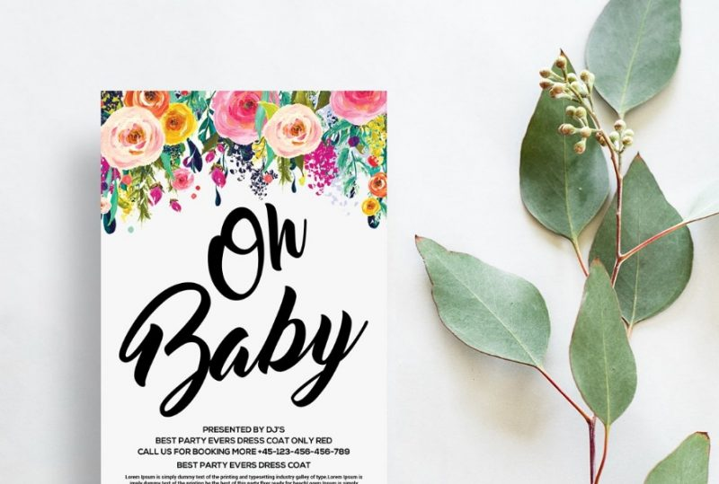 Floral Baby Shower Flyer Template