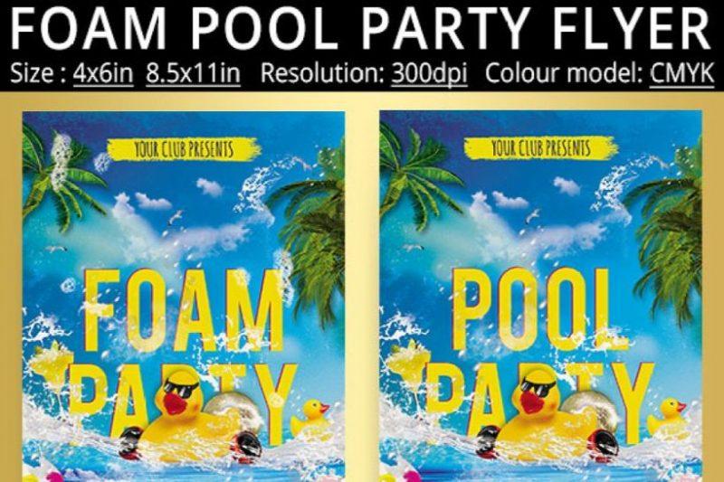 Foam Pool Party Flyers PSD