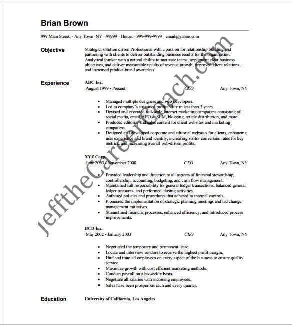 Free Download Sample Resume