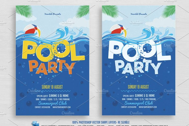 Fully Editable Pool Party Flyer