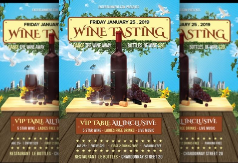 Fully Editable Wine Tasting Flyes