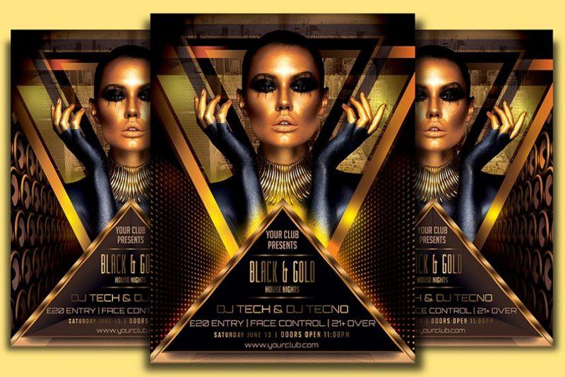 Golden Night Club Flyer Template